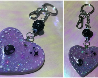 Alien Theme Heart Keychain