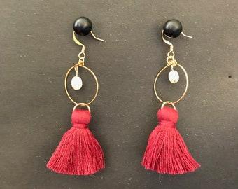 Maroon Tassle Pearl Earrings