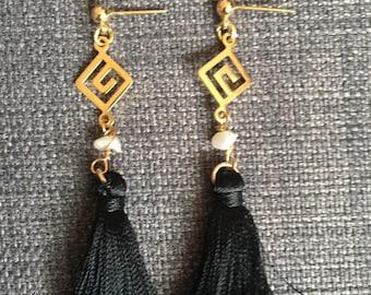 Cubic Swirl Tassel Earrings