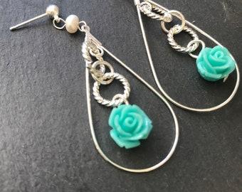 Green Rose Dangle Earrings