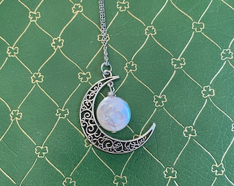 Crescent Silver and Pearl Moon