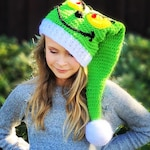CROCHET PATTERN - Christmas Hat - Holiday - Elf Hat - 7 Sizes - Ava Girl Patterns