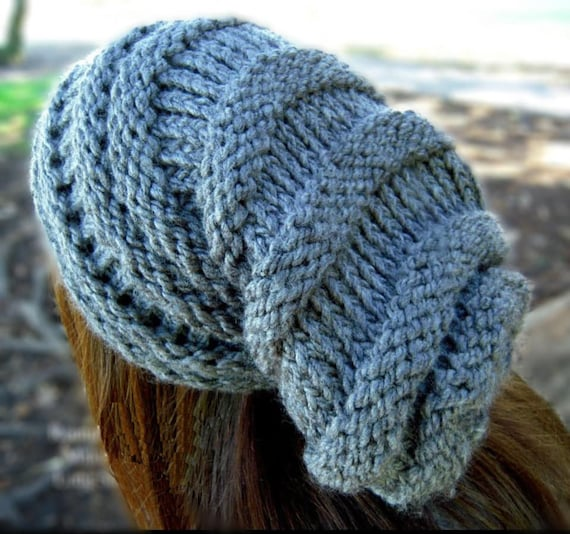 LOOM KNITTING PATTERN Long Slouchy Hat Winter Hat Finley  48fff5370e4