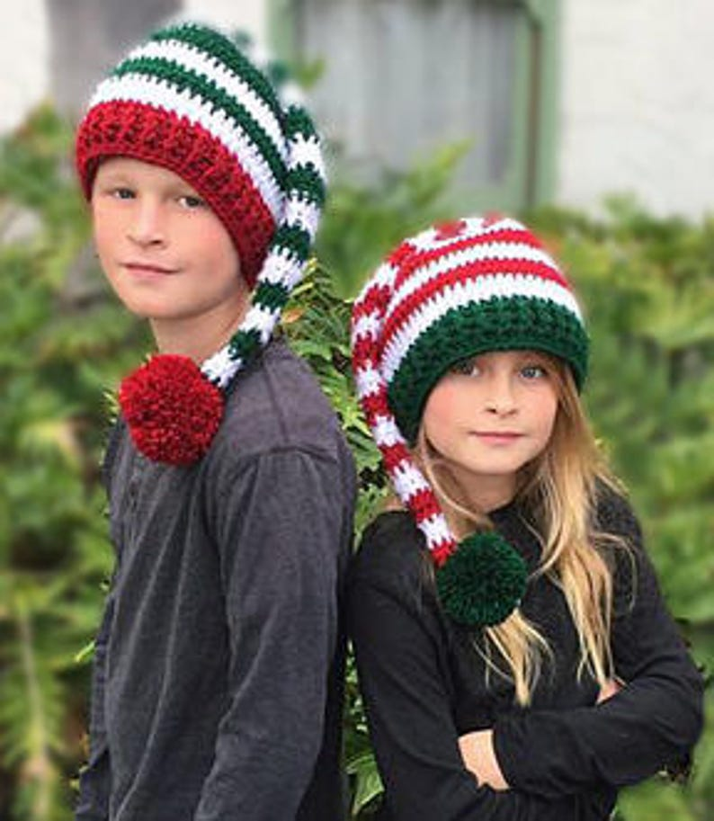 927125863ad CROCHET PATTERN Striped Elf Hat Holiday Hat Pattern