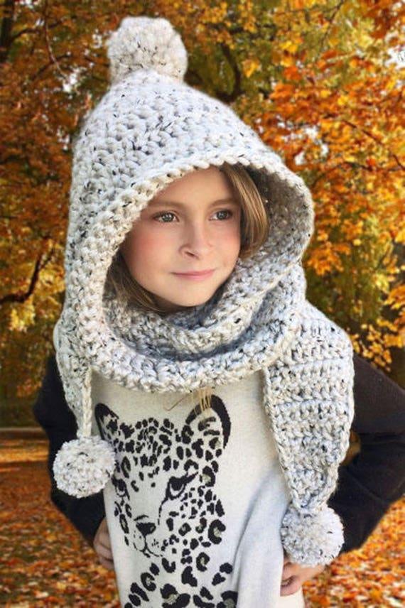 Crochet Pattern Hooded Scarf Scarf Hooded Neck Warmer Etsy