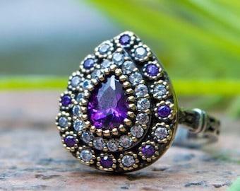Sterling silver ring, evil eye ring, engagement ring, boho ring , statement ring, amethyst cz ring, teardrop ring, pear , green