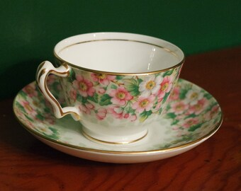 Vintage Pink and White Floral Tea Cup and Saucer