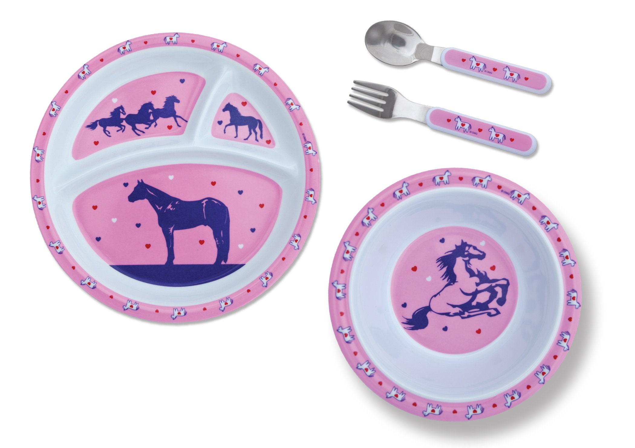4 pc horse or cowboy Kids Dinnerware gift set