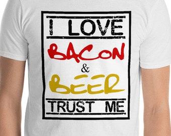 bacon gift I Love Bacon & Beer trust me - bacon lover gift - bacon shirt - bacon print