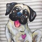 Dog Pillow, Dog, Pillow, Pug,Dogs, Hand Painted, Custom, Pug Pillow, Labrador Art,Dog Breed Pillow,Dog Breed Art,Dog Lover Gift,Throw Pillow