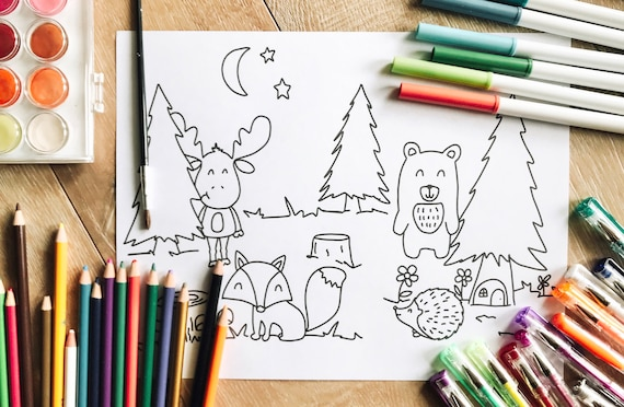 Woodland animal art  animal coloring pages  coloring and