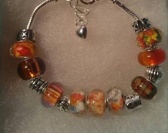 Murano glass bead bracelet with orange beads