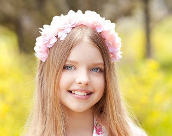 pink flower headband, girl flower crown, pink flower crown for girls, girl flower headpiece, children headband, preserved flowers, dry flowe
