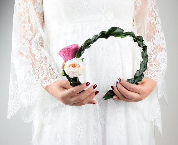 Wedding Flower Crown Preserved Rose Bridal Flower Crown Garden Roses Boho Wedding Dry Flower Crown Roses Headband Woodland Crown