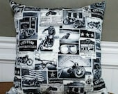 18 quot x18 quot black, white, gray, vintage motorcycle, motorcyclist, biker, club, born to ride, decorative throw pillow insert included