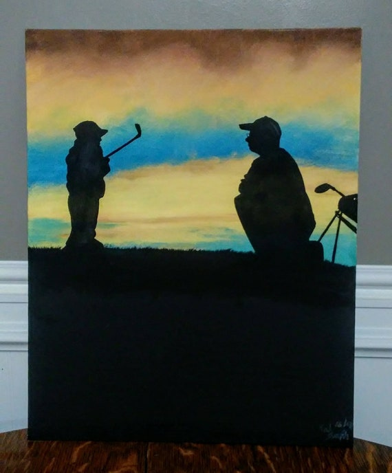 16 X 20 Father Son Golf Lesson Oil Painting Etsy