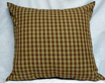 18x18 tan/ beige and chocolate brown small plaid print, decorative throw pillow, *insert included