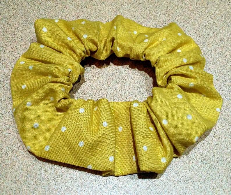 pin up polka dots hair tie elastic hair accessory scrunchie rockabilly vintage yellow spots preppy white retro Mustard