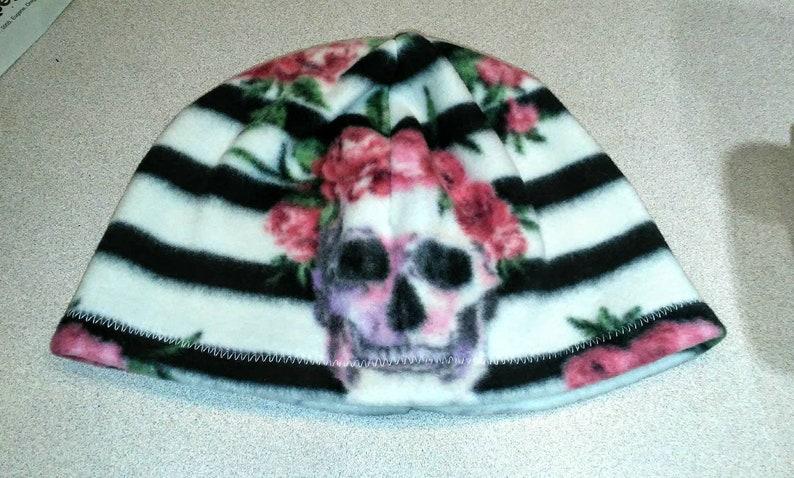 pink fleece hats purple fleece caps white roses Black gray leopard day of the dead plaid winter custom fleece beanies skulls