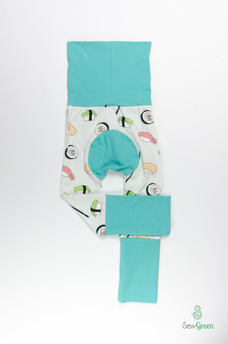 Cloth diaper friendly Grow with me pants 2y Toddler Gift Sushi and Mint Baby Big Butt Pants 6m