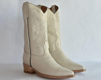 5e88c9f46a68 Vaquero Western Cowboy Boot - Hueso off White Handmade