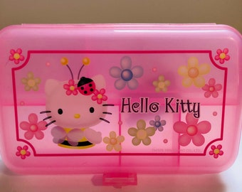 Vintage 1999 Sanrio Hello Kitty cosmetic storage jewelry pink box with  flowers c3711a4bad552