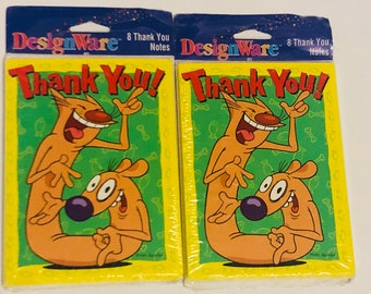 1999 Designware catdog thank you notes 2 pack of 8 cards and envelopes party supplies