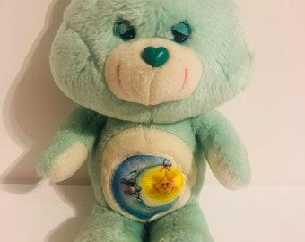 Vintage 1983 Bedtime bear Carebear moon and sun belly blue plush toy