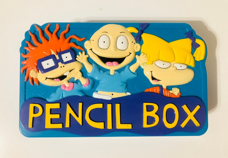 13d8c243c4 1998 Rugrats Pencil box blue Angelica Tommy Chuckie   Etsy
