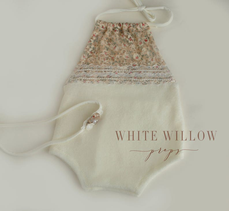 lace romper with tieback set sitter Twin set photography prop newborn twin set ivory girl and boy romper Emma and Ethan twin set