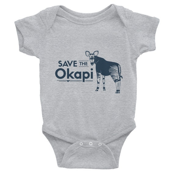 "Endangered Species Body Suit ""Save the Okapi"" Infant Bodysuit Short Sleeve"