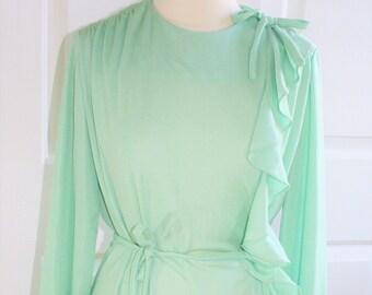 N'est-elle pas belle! Vintage années 70 - 80 ' s femmes mer mousse vert Secrétaire Midi jour a-ligne robe - taille moyenne