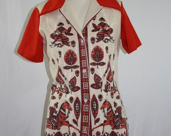 826bb1f4a3ba71 Vintage 60's-70's JCPenney Fashions Bohemian Leisure Suit Blouse- Size XS/S