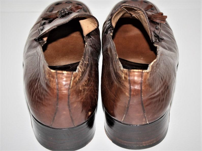 Vintage 1960/'s Nunn Bush Brown Italian Leather Tassle Loafers Mens 7.5 D Women/'s 9 D