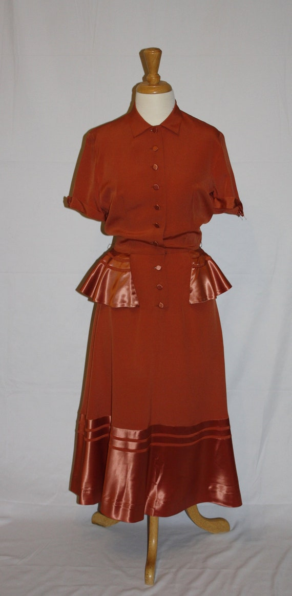 Vintage 40's-50's Red Rust Day Dress -Shirt Dress-