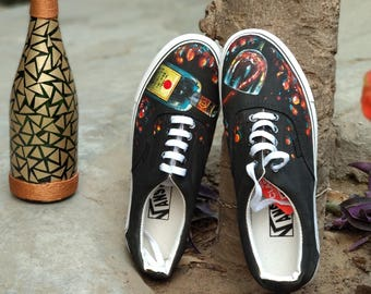 Hand-Painted - Champagne on Canvas Shoes