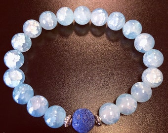 Diffuser Bracelet Blue lava rock and glass turquoise