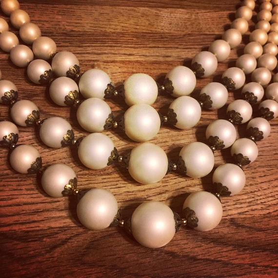 Mid century custom faux matte finish pearl necklac