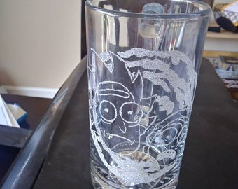 Rick and Morty etched beer mug