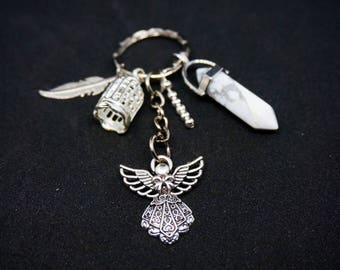 White marble angel keychain
