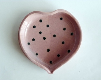 Heart ring dish,dotted heart ring, pink heart plate