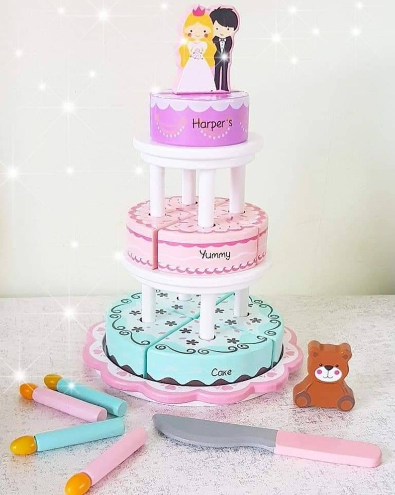 Personalised Wooden Cake Toy Pretend Play Role Play 4 In 1 Celebration Cake Imaginative Play Wooden Toy
