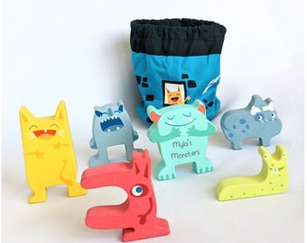 Personalised Stacking Toy • Wooden Toy •  3rd Birthday • Monster Stacking Game • Educational Toy • Toddler Christmas Gift •