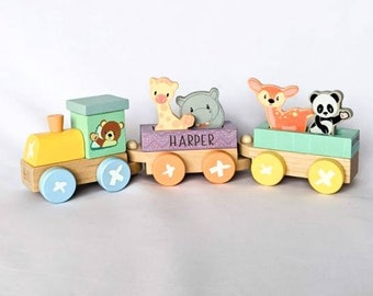 Personalised Wooden Toy • Wooden Train  • Pastel Train Toy • Toy Train • Toddler Toy • Toddler Birthday Gift • Pastel Colour Toy