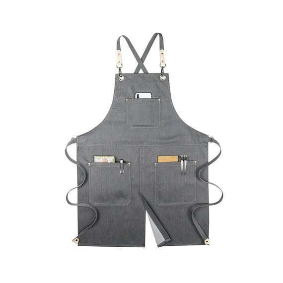 Personalized Barber Barista Florist Stylist Work Denim Apron With Pockets For Women and Men
