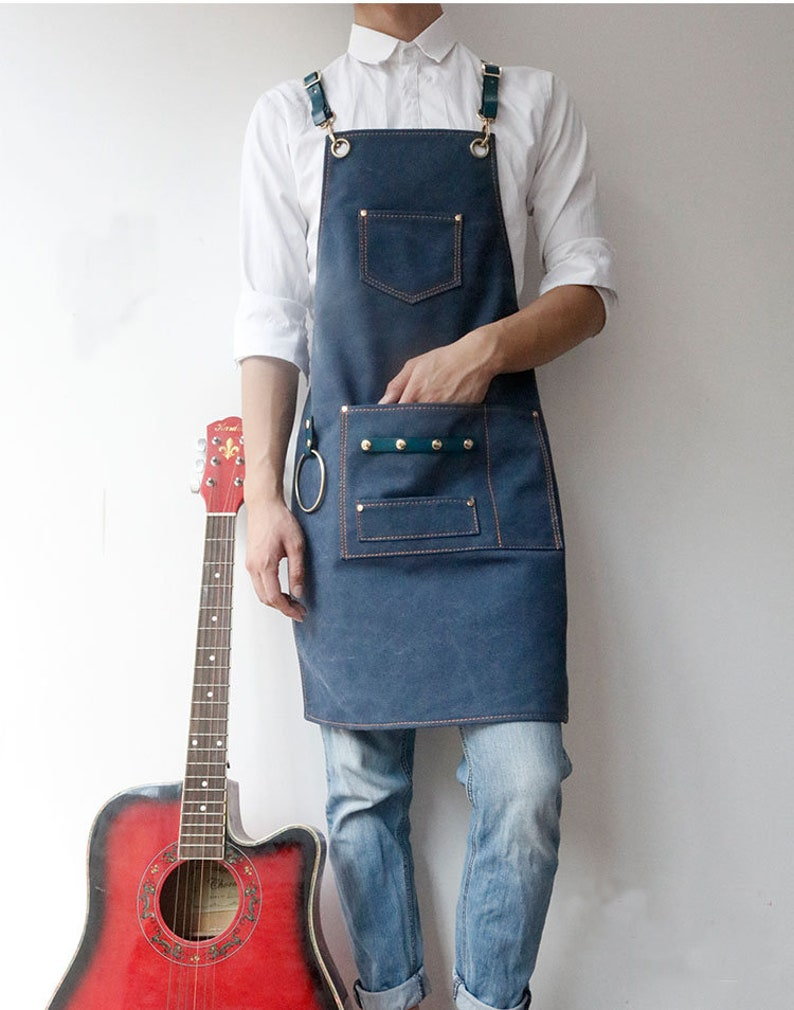 Personalized Apron For Women And Men With Leather Cross-Back Straps 3 Pockets 6 Patterns