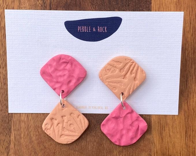 Polymer clay earring, Mismatched earrings, Dangle fan earring.