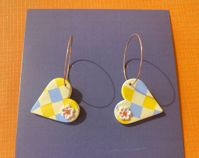Polymer clay gingham earring, yellow and blue check dangle