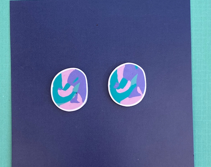 Polymer clay earring, Colourful earring, Circle stud.