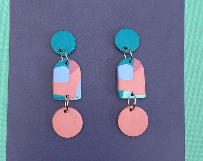 Polymer clay earring, Abstract earring, Drop earring.